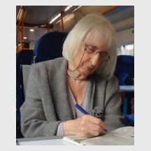 Ruth Artmonsky on a train