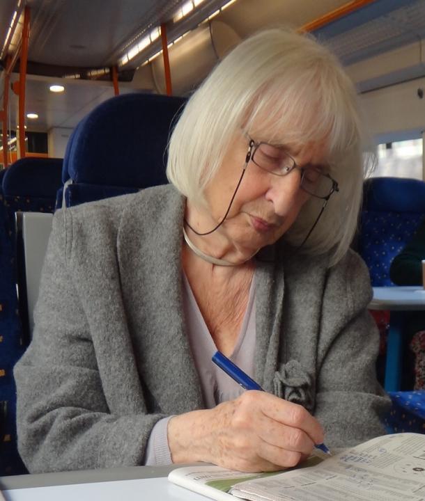 Ruth Artmonsky on a train